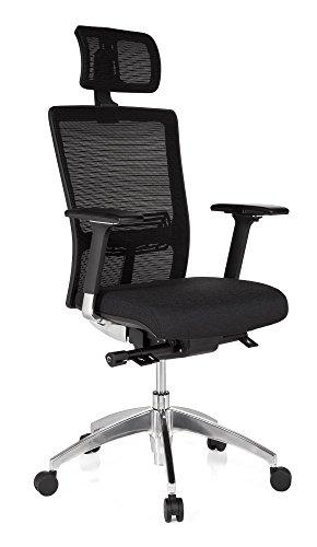 hjh OFFICE 657501 Bürostuhl Chefsessel ASTRA LUX Netzstoff schwarz, extrem stabiler Polsterstoff, hoher Sitzkomfort, Drehstuhl ergonomisch, verstellbare Armlehnen, Schreibtischstuhl, Chefsessel