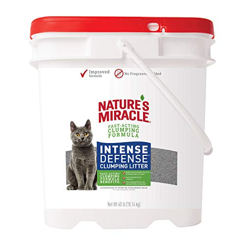 Nature's Miracle Intense Defense Clumping Litter, 40 Pounds, Pail, Super Absorbent Fast-Clumping Formula, Dust Free, Fragrance Free