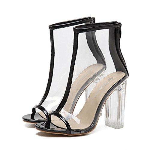 Liquidación de la venta! Sandalias de mujer Covermason transparente Peep Toe Botas cortas de plástico Sexy Zipper Volver Sandalias(38 EU, Negro)