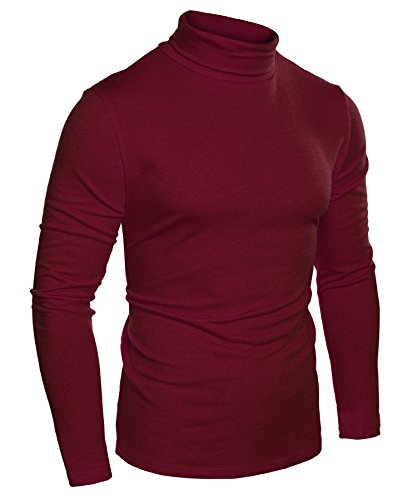 COOFANDY Mens Slim Fit Basic Thermal Turtleneck Sweaters Casual Knitted Pullover Sweaters (XXL, Wine Red)