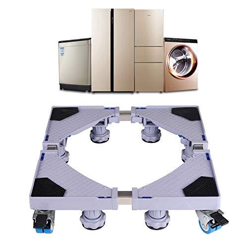 Base de Machine à Laver Réglable 45cm-70cm Support Charge 300 kg Réduction du Bruit Effet Avec pour Réfrigérateur/Machine à Laver/Sèche-linge