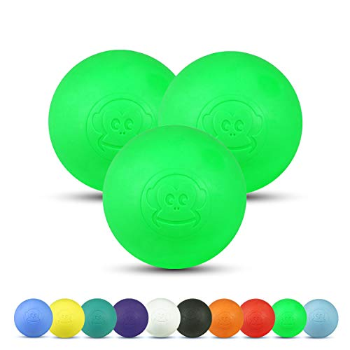 Captain LAX Massageball Original - Lacrosseball 3er Set, aus Hartgummi, mit den Maßen 6 x 6 cm geeignet für Triggerpunkt- & Faszienmassage/Crossfit