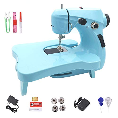 Amouhom mini máquina de coser eléctrica portátil de dos velocidades, principiante / niña de 7 a 12 años / regalo / sastre / arte / artesanía, pedal de mesa de luz nocturna expandible
