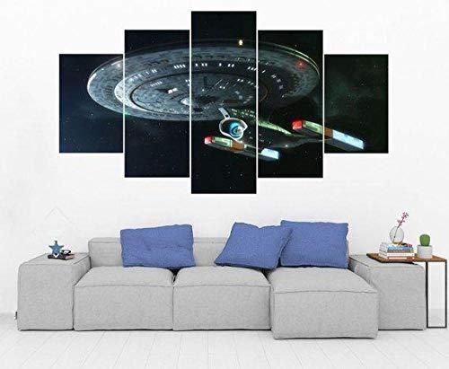 YFTNIPL Bilder 5 Teilig Leinwand Art Bilder Raumschiff Enterprise Star Space Trek Film Wandbild Wohnzimmer Hauptdekor Hd Gedruckt 5 Teilig Poster Modulare Abstrakt Ölgemälde Leinwand