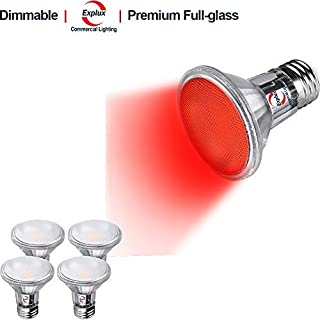 Explux Dimmable Red Color PAR20 LED Flood Light Bulbs, Classic Full-Glass, Indoor/Outdoor, 5W (50W Equivalent), 4-Pack