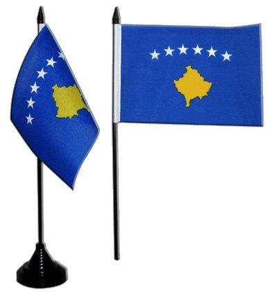 Flaggenfritze Tischflagge/Tischfahne Kosovo + gratis Aufkleber