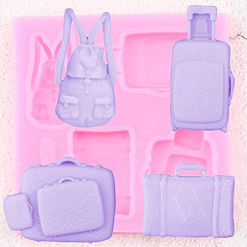 FOOJO 3D Bag Luggage Trolley Case Silicone Mold DIY Party Fondant Cake Decorating Tools Polymer Clay Candy Chocolate Gumpaste Moulds