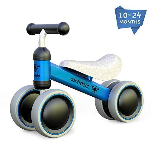 XIAPIA Kinder Laufrad Spielzeug für 10 - 24 Monate Baby, Lauflernrad mit 4 Räder, Erst Rutschrad Fahrrad für Jungen/Mädchen als Geschenke für 1 Jahr Alt (Blau)