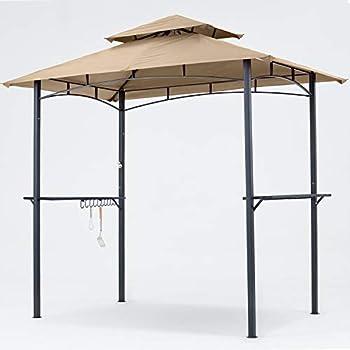 MasterCanopy Grill Gazebo 8 x 5 Double Tiered Outdoor BBQ Gazebo Canopy with LED Light  Khaki