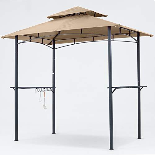 MasterCanopy Grill Gazebo 8 x 5 Double Tiered Outdoor BBQ Gazebo Canopy with LED Light (Khaki)