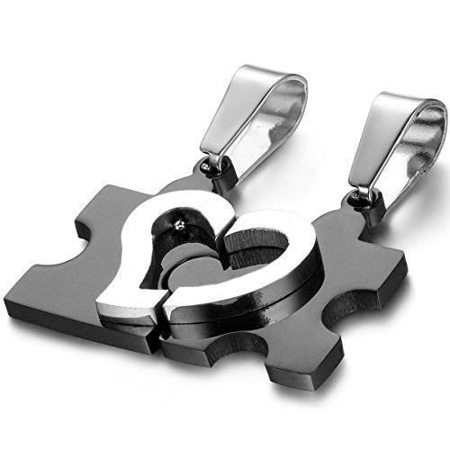 Oidea Collar para pareja Lovers collar de acero inoxidable colgante Puzzle corazón regalo para Amante,color a elegir (1 par) Negro