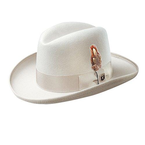 Stacy Adams Men's Wool Homburg Comfort Hat M White