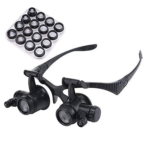 Silai koptelefoon, vergrootglas, met HD-licht, reparatie, klok met gravure, antiek, geborduurd, lezen, 20 keer draagbaar, verstelbaar, voor reparatie