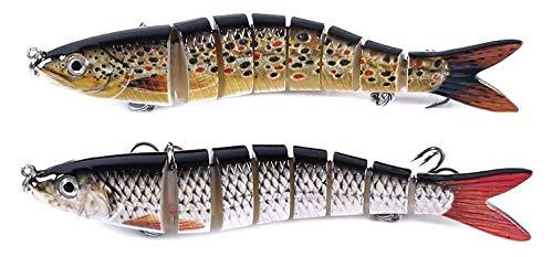 ecope Wobbler Set 2 Stück Kunstköder mit Fischköder Box/Raubfisch Angeln Hecht, Zander, Barsch, Wels/Angelköder aus Rotauge, Bachforelle/Drillingshaken #6