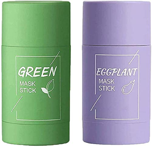 2Pcs Green Tea Eggplant Purifying Clay Stick Mask, Green Tea Cleansing Mask for Blackheads Remeval Deep Cleansing Mask Deep Clean Pore Oil Control Anti-Acne for All Skin Types (Green Tea+Eggplant)