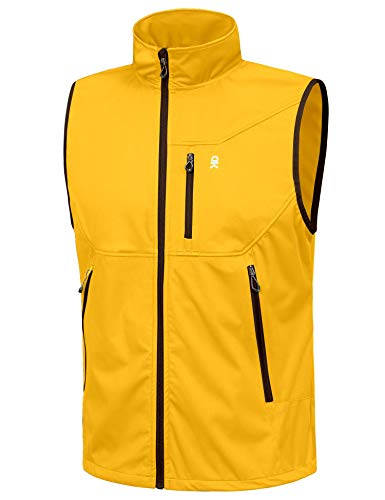 Little Donkey Andy Chaleco ligero Softshell para hombre, chaqueta sin mangas a prueba de viento para viajes, senderismo, correr, golf - amarillo - X-Large