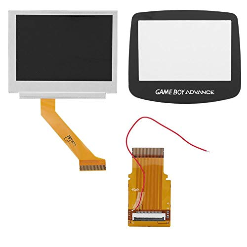 Bewinner Backlit Screen Repair Kit for Game Boy Advance,40Pin Cable and Touch Cover and Display Screen LCD Backlight Kit,Cables Come Pre-Soldered for The Easy Install
