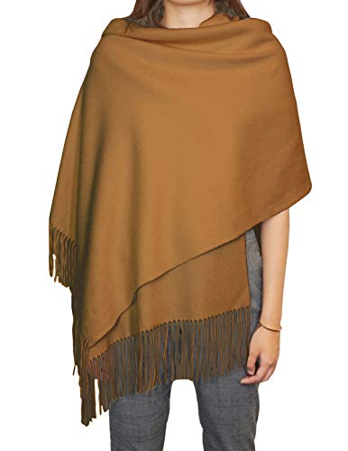 State Cashmere Solid Color Fringe Shawl 100% Cashmere Oversized Wrap Scarf 28' x 76' + 4' x 2 (Zenzero)