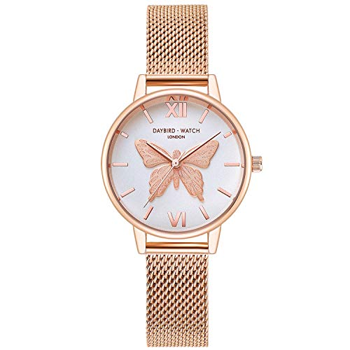 RORIOS Relojes de Mujer Hermoso Mariposa Dial Pulsera Acero Inoxidable Correa Relojes para Dama Reloj de Pulsera