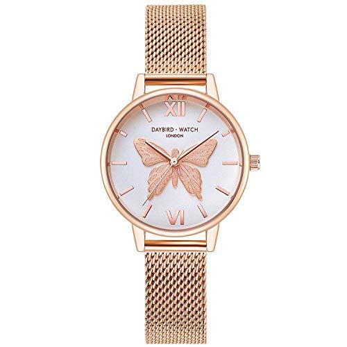 RORIOS Casual Relojes de Mujer Mariposa Dial Pulsera Acero Inoxidable Correa Relojes para Dama Regalo de Cumpleaños Reloj de Pulsera