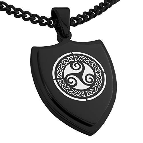 Black Stainless Steel Celtic Triskele Triskelion Triple Knot Shield Pendant Necklace