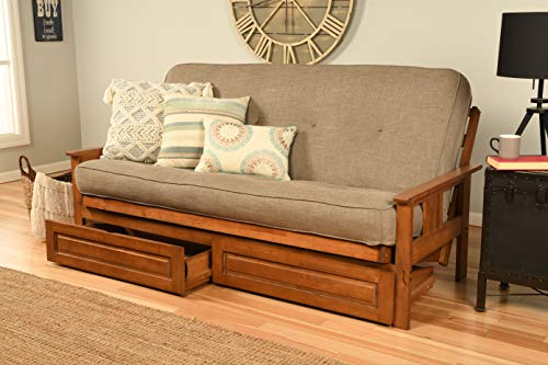 Kodiak Furniture Monterey Futon Set with Storage Drawers (Multiple finishes Available) Innerspring Mattress Included, Full, Linen Stone