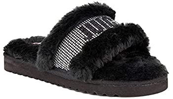 Juicy Couture Women s Slide Sandals With Faux Fur Slipper Sandals Furry Slides Womens Slip On Slippers-Halo-Black-7