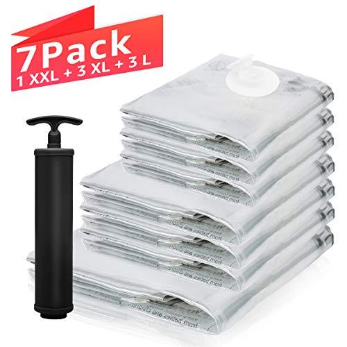 TAILI Vakuumbeutel Aufbewahrungsbeutel 7Stück (1x Super Jumbo, 2X Jumbo, 2X Groß, 2X Klein) mit Handpumpe, Platzsparer Reisebeutel Kompressionsbeutel für Bettwäsche, Decke, Kleidung