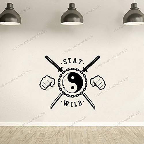 Dwzfme Adesivi da Parete Adesivi Murali Fight Club Martial Motivational Quote Vinyl Interior Window Decor Kendo Fist Tai Chi Decalcomanie murale 57x42cm