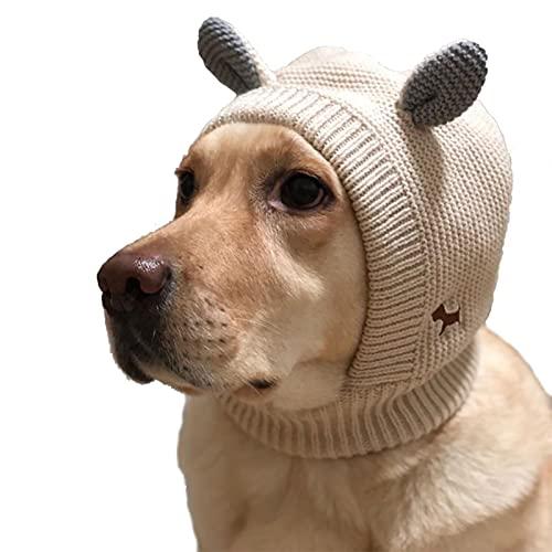 Hundemütze Für Kleine Große Hunde Winter Ohrenschutz Ruhige Ohren Für Hunde, Freie Größe Baumwollstrick-Haustierhauben Niedliche Warme Winddichte Hundemützen Für Angstlinderung Beruhigend