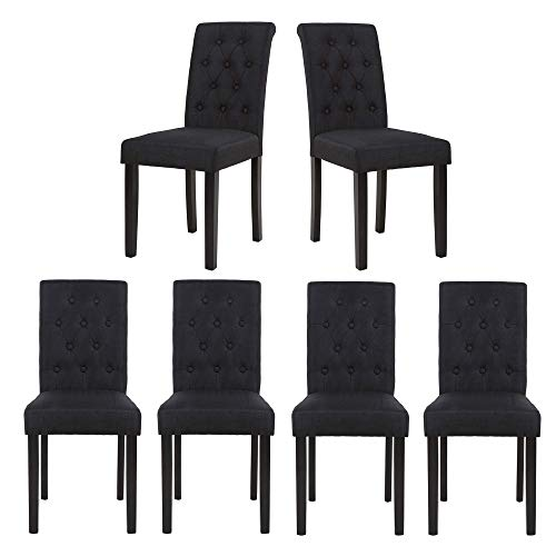 Set of 6 Upholstered Fabric Dining Chairs with Button-Tufted Details (Black Set of 6)
