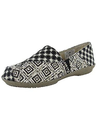 Crocs Womens Angeline Graphic Loafer Slip On Shoes, Black/Khaki, US 6