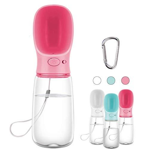 COTOP Botella para Perros, 550ml dispensador de Agua Antibacteriano para Mascotas, Taza para Beber para Mascotas al Aire Libre (Rosa)