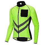 HFJLL Off-Road Mountain Road Radfahren Angeln Haut Windjacke reflektierende wasserdichte Langarm-Shirt Licht,Green,2XL