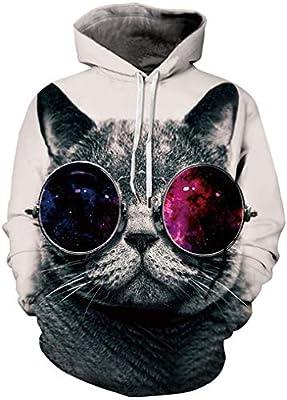 FLYCHEN Men's Digital Print Sweatshirts Hooded Top Galaxy Pattern Hoodie Cat Glasses LXL