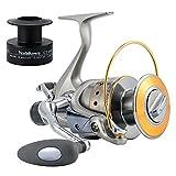 Yoshikawa Spinning Reel Saltwater Freshwater Fishing Baitfeeder 4000 5.5:1 11 Stainless Ball Bearings Bass Salmon Bluefish Catfish Carp