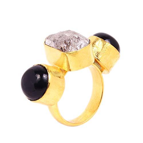 Anillo de piedra preciosa de ónix negro y diamante Herkimer para mujer