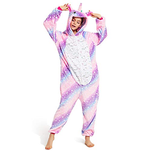 Pijama Unicornio Adulto, Unisexo para Mujer Hombre Cosplay Animal Disfraz Pyjamas Halloween Traje de Navidad (Estrella, S)