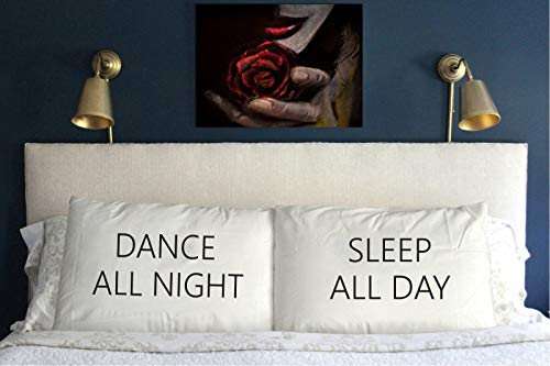 prz0vprz0V Set of 2Dance All Night, Sleep All Day Pillow Covers Funny Wedding Couple Lumber Couple Cushion Case for sofá Bed 12x 20Inch
