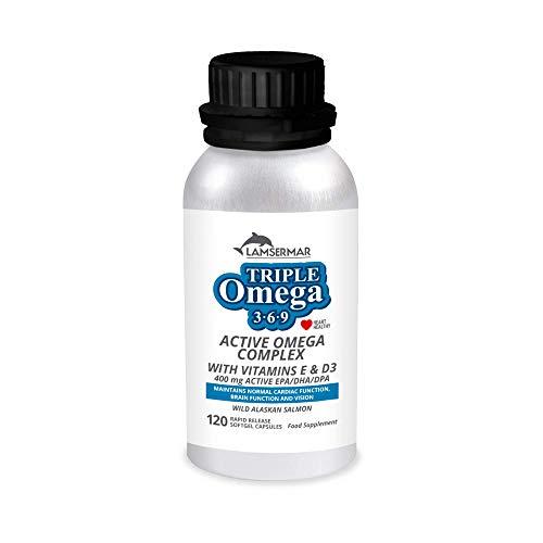 Triple omega 3, 6, 9 + EPA/DHA/DPA + vitamina E y D3   Aceit