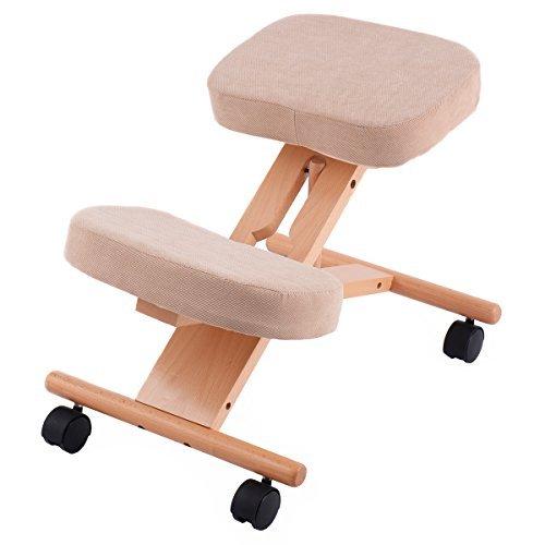 CASART Ergonomic Kneeling Chair, Adjustable Wooden Frame Kneeler Stool, Home Office Orthopaedic Posture Chairs (Beige)