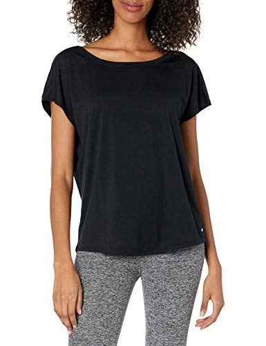 Amazon Essentials Women's Studio Short-Sleeve Lightweight Open-Back T-Shirt, -black, X-Large