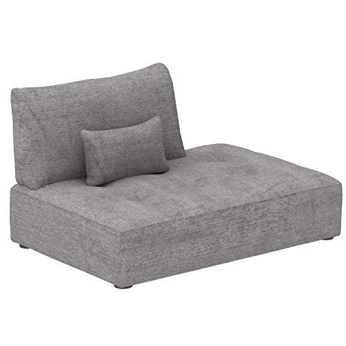 Marca Amazon -Alkove Elvas - Módulo chaise longue con almacenaje y cojín adicional para sofá modular, 145 x 100cm, gris