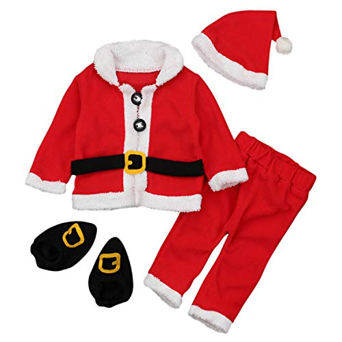 Vococal 4 PCS Mignon Doux Polaire De Noël Le Père Noël Costume Vêtements Set avec Manteau Chapeau Chaussettes Pantalon pour 6-12 Mois Bébé en Bas Âge Garçons Filles 80 cm