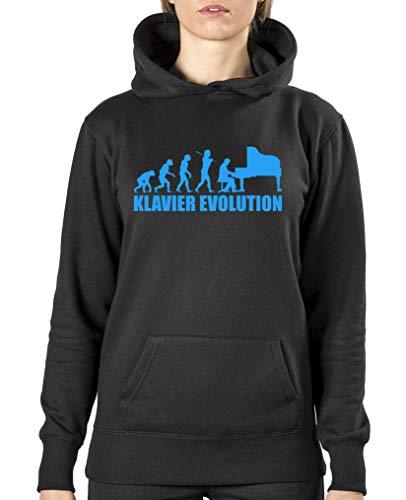 Comedy Shirts - Klavier Evolution - Damen Hoodie - Schwarz/Blau Gr. M