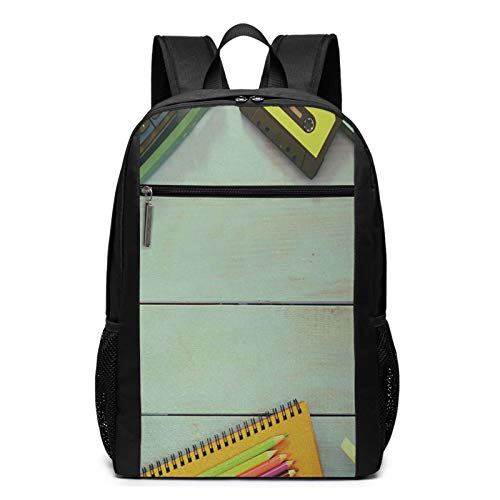 School Backpack Over Wooden Table Typewriter, College Book Bag Business Travel Daypack Casual Rucksack for Men Women Teenagers Girl Boy