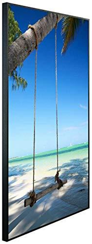 Ecowelle Infrarotheizung mit Bild | 500 Watt | 80x60x3cm | Infrarot Heizung| | Made in Germany | d 3 Schaukel am Meer