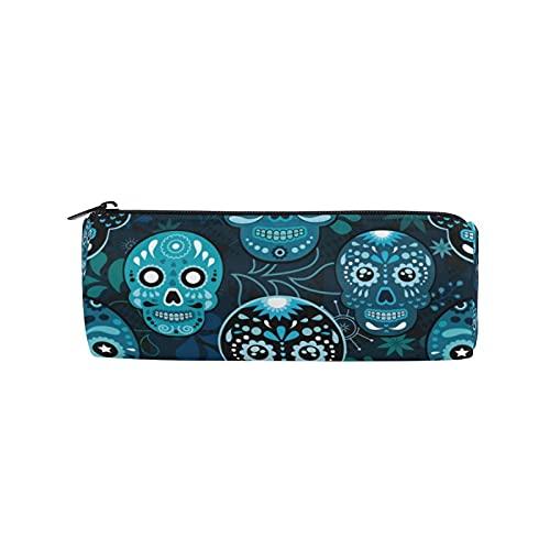 Blue México - Estuche para lápices con diseño de calavera de azúcar vintage, bolsa de lápices con cremallera, para mujeres, niños, niñas, adolescentes, niños, enfermeras, suministros