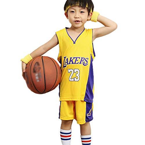 XIAOQSM 23# James Lakers Kinder Basketball Kleidung Anzug Jersey Teenager Basketball Trikots Kleidung Kurze Ärmeln + Shorts Gelb Yellow-S