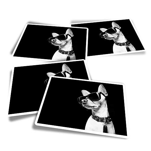 Pegatinas rectangulares de vinilo (juego de 4) – BW – ny Dog con gafas de sol divertidas calcomanías para ordenadores portátiles, tabletas, equipaje, reserva de chatarra, frigoríficos #39763